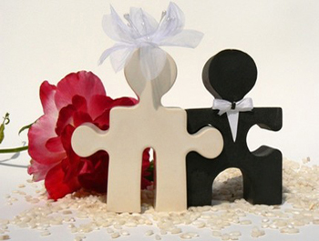 Puzzle People Wedding Cake Topper