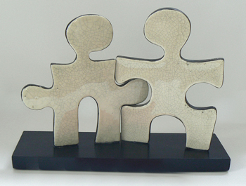 Puzzle People Ceramic Sculpture