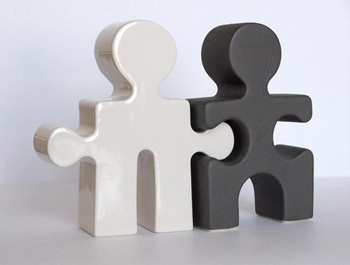 Puzzle People Salt & Pepper Shakers