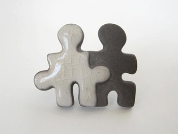 Puzzle People Ceramic Raku Pin